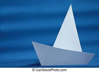 origami white paper yacht
