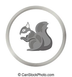 Squirrel vector icon in monochrome style for web - Squirrel...