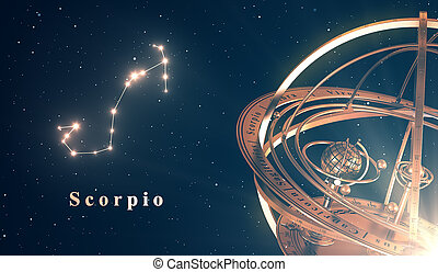 Zodiac Constellation Scorpio And Armillary Sphere Over Blue...