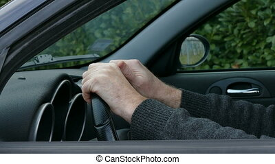 Driver gesture to pedestrian - Driver gesturing, giving sign...