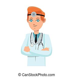 man medical doctor cartoon icon over white background....