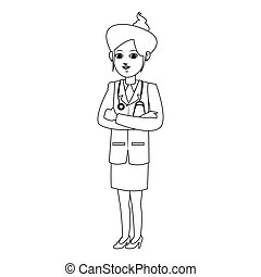 woman medical doctor cartoon icon over white background....