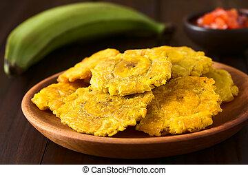 Plátano, frito,  patacon, Rebanadas