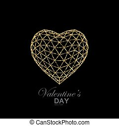 Happy Valentines Day. Geometrical 3d heart of shiny golden...