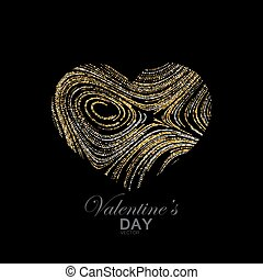 Happy Valentines Day. Abstract heart of shiny golden...
