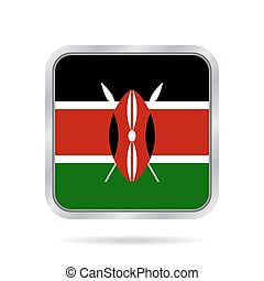 Flag of Kenya. Shiny metallic gray square button. - National...