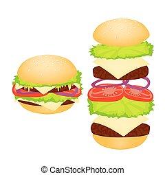 Hamburger on a white background.