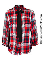 Checkered blouse with a tie