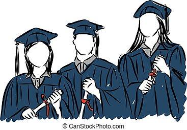 estudiantes, gente, Ilustración, graduado