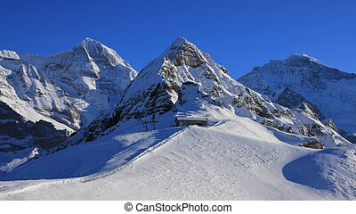 Winter landscape in Grindelwald, Swiss Alps - Snow covered...