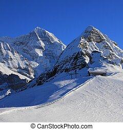 montagne,  lauberhorn, neve,  monch, coperto