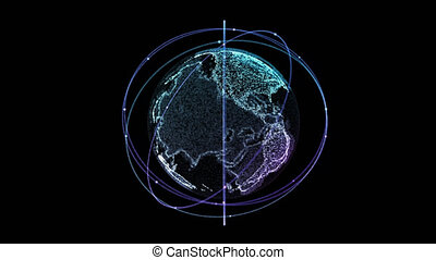 Digital technology connection of the Earth with orbiting...