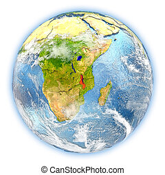 Malawi on Earth isolated - Malawi highlighted in red on...