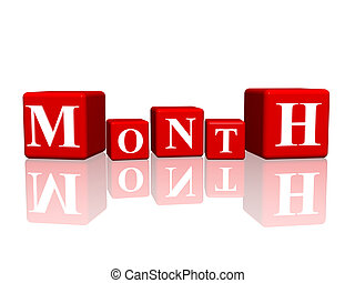 month in 3d cubes
