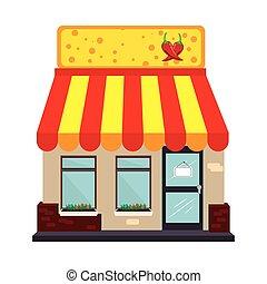 Supermarkt gebäude clipart  Clipart Vektor von gebäude, isometrisch, supermarkt, außen ...
