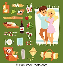 Barbecue resting picnic couple and vector icons. - Picnic...