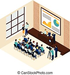 Isometric Business Conference Concept - Isometric business...