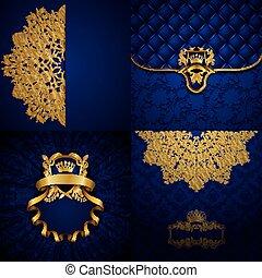 Elegant golden frame banner - Set of luxury ornate...