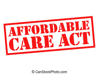 AFFORDABLE CARE ACT red Rubber Stamp over  wite background.