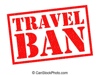 TRAVEL BAN red Rubber Stamp over a white background.
