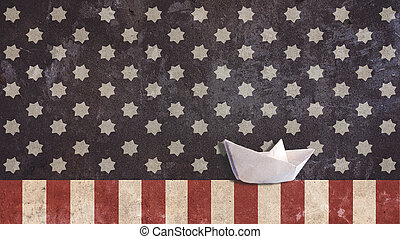 Paper Boat with Stars and Stripes - Paper Boat with Usa Flag...
