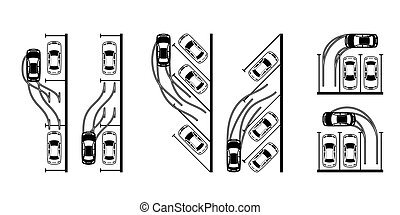 Different types of parking a car - vector illustration
