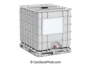Intermediate bulk container closeup, 3D rendering isolated...