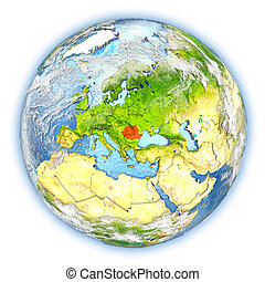 Romania on Earth isolated - Romania highlighted in red on...