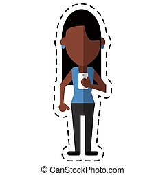afro american woman message phone device dot line vector...