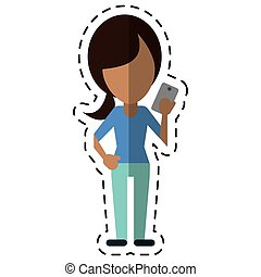 character using smartphone technology cut line vector...