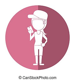 sportwoman sharing smarthpone technology shadow vector...