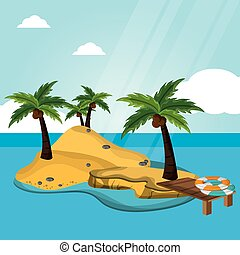 island desert with pier lifebuoy vacations vector...