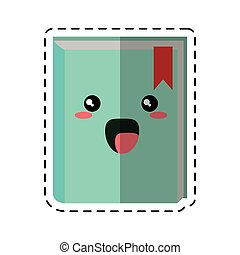 cartoon book library learning cut line vector illustration...
