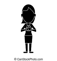 woman chatting  with mobile phone pictogram