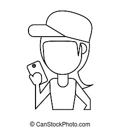 sportwoman sharing smarthpone technology thin line vector...