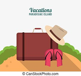 vacations paradisiac island with suitcase hat flip flop sand...