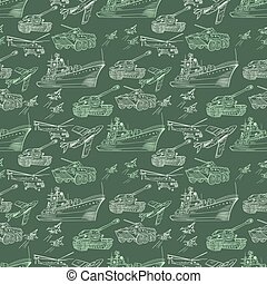 Vector Military Transport Pattern - Seamless army texture...
