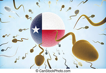 Emigration concept: Sperms swimming away from Texas.(series)...