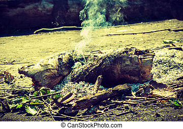 Fireplace in forest clearing. - Outdoor leisure camping...