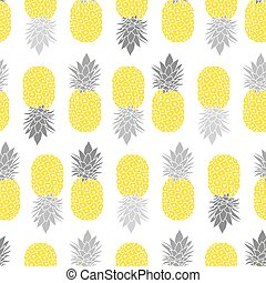 Fresh Pineapples Vector Repeat Seamless Pattrern in Grey and...