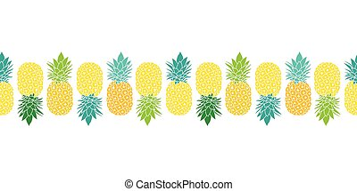 Fresh Pineapples Vector Repeat Seamless Horizontal Pattrern...