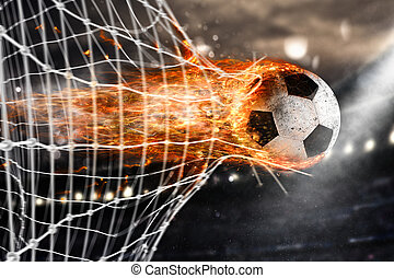 Soccer fireball scores a goal on the net - Professional...