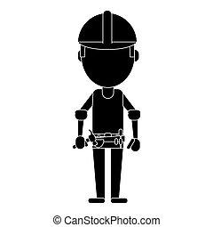 construction man helmet tool belt hammer pictogram