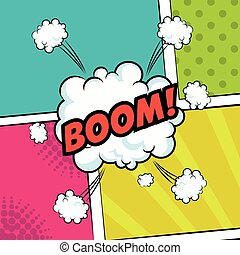pop art boom text bubble speech color background