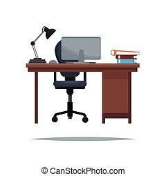 work desk armchair laptop lamp book