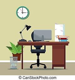 workplace equipment desk chair clock