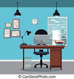 workplace office desk clock diploma laptop window city