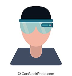 boy user vr glasses smart technology vector illustration eps...