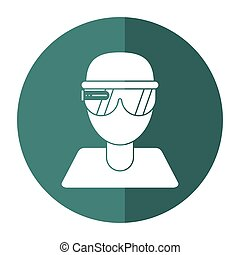 boy user vr glasses smart technology shadow vector...