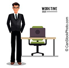 man business glasses work time desk armchair vector...